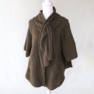 Anthropologie Sparrow poncho cape sweater tie S